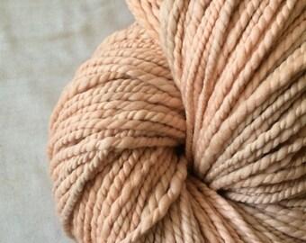 Madder dyed luxury yarn, handspun yarn, super soft yarn, naturally dyed, botanically dyed, plant dyed yarn, peach bulky yarn,