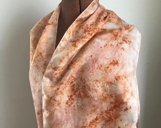 Madder dyed silk scarf, coral naturally dyed scarf, plant dyed ecofashion