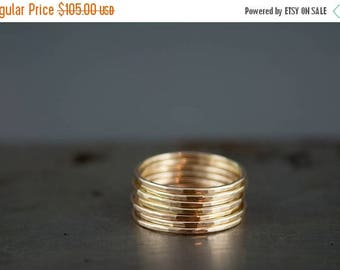 ON SALE Thin 14k Gold Ring, Delicate Gold Ring, Gold Stacking Ring Set of 6, Simple 14k Gold Filled Hammered Rings