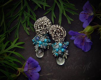 Stirlingia - unique hand crafted earrings with blue gemstones