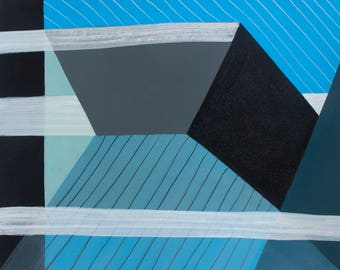 Mid Century Modern Geometric Architectural Abstraction 11 Original Painting on Paper