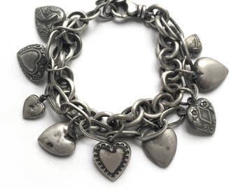 Heavy Multi-Chain Sterling Silver Vintage Puffy Heart Charm Bracelet Tiffany Cable Chain Vintage Recycled Silver Peacock Adjustable