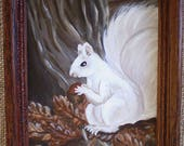White squirrel original painting wall hanging woodland animal art rustic whimsical children's nursery Autumn fall decoration