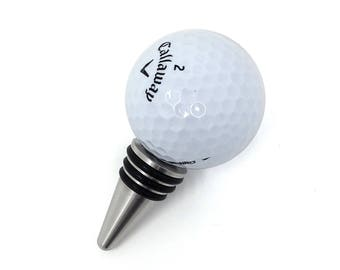 Golf Ball Wine Bottle Stopper - Stainless Steel Base
