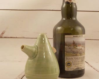 Ceramic Cruet - Oil Vinegar or Soy Server - Spouted Stoneware Pourer - Store and Serve - Table Server - Celadon Green - Ready to Ship s530