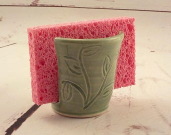 Ceramic Sponge Holder - Kitchen Sponge Dryer - Small Cup Holder - Stoneware Kitchen Accessory - Ready to Ship - Carved Celadon Green h479