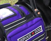 Service Dog Vest that attaches to Harness, Backpack style vest that attaches to Harness, Saddlebags for dog harness, many colors and options
