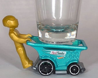 the Original Hot Shot shot glass, Fast Foodie, Aisle Driver, Shopping Cart, Racing Truck, Hot Wheel Car