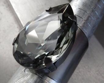 Large Swarovski Crystal Black Diamond Teardrop Ring on Matte Grey Gunmetal Cuff Ring Base, Huge Crystal Cocktail Ring - Unisex & Adjustable
