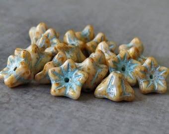 Beige Picasso Czech Glass Bead 9x6mm Bell Flower : 20 pc Cream Flower Bead