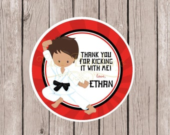 PRINTABLE Boys Karate Favor Tags for Karate Birthday Party / Personalized Taekwondo Stickers or Tags / Choose Hair & Skin Color / You Print