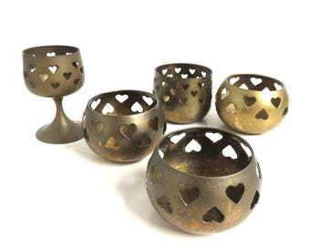 5 Vintage Brass Tealight Holders, Heart Cut outs, Small Round Votive Candle Holder Lot, Pedestal Goblet, Romantic Dinner Table Setting
