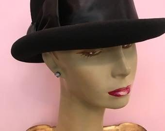 1980s hat vintage hat black hat bowler hat wool hat betmar hat vintage bowler womans bowler menswear hat