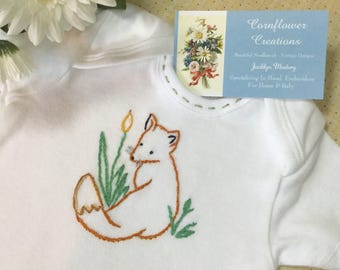 Vintage Style Woodland Fox - Onesie, Bodysuit, or Tee Shirt - Hand Embroidered (made to order any size)