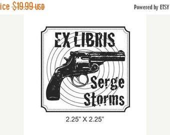 Xmas in July Custom Gun and Bullseye Ex Libris Bookplate Rubber Stamp Inspired by Tim Dorseys Serge  A32