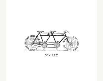 Xmas in July Tandem Bicycle Rubber Stamp 386
