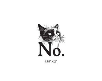 Xmas in July Grumpy Cat Says No Rubber Stamp 499