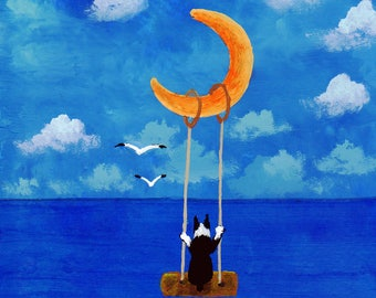 Boston Terrier Dog Art PRINT Todd Young painting MOON SWING