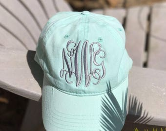 Monogrammed Cap - Monogrammed Hat - Beach Summer Monogram Hat MINT