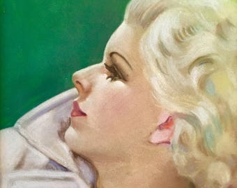 Vintage 30s JEAN HARLOW ORIGINAL Art Deco Illustration Actress Golden Age Hollywood Pinup Movie Star Goddess
