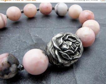 opal gift, pink opal bracelet, Peruvian opal bracelet, pink gemstone bracelet, stretch bracelet, October birthstone bracelet, rose jewelry