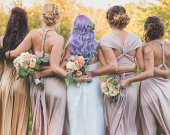 Upscale Infinity Dresses Custom Size Length Multiway Bridesmaids Convertible Dress Champagne Blush Marsala Rose Rosewater taupe mismatched