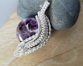 Chevron Amethyst Pendant Bead Wire Wrapped in Sterling Silver Pendant Wire Wrapped Jewelry Handmade Crystal Healing Boho Scifi Renaissance