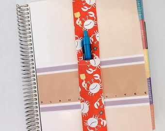 Crab Theme Pretty Pen Pocket Planner Band Pen Holder