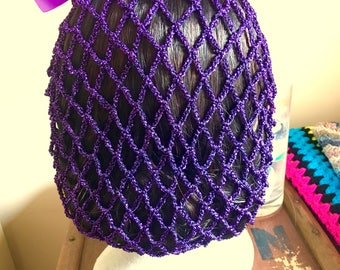 Metallic purple 1940s style snood/hairnet. LARGE ONLY