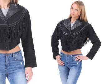 Fringe Jacket 80s Black Suede Crop Biker Jacket Leather SOUTHWESTERN Boho 1980s Vintage Cropped Hipster Coat Bohemian Hippie Women Medium