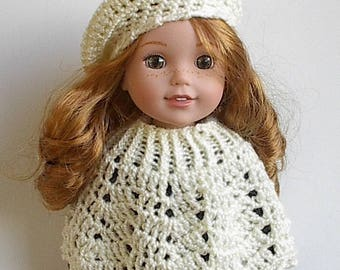 "14"" Doll Clothes Poncho and Beret Set Handmade and Crocheted to fit the Wellie Wishers and other similar 14.5"" dolls - You choose color"