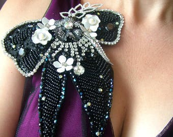 Large embellished Bow brooch - OOAK  - Ready to ship x