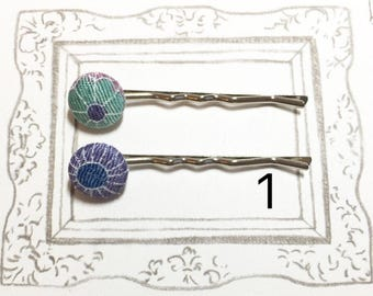 Flower Bobby Pins, Japanese Kimono Fabric Bobby Pin, Chirimen Fabric Bobby Pin, Fabric covered hair pin, Cute hair pin, Gift for girl
