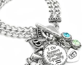 Marriage Equality Bracelet, Gay Pride Jewelry, Silver Charm Bracelet, Gay Couples Charm Jewelry, Gay Pride Bracelet