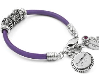 Leather Bangle Bracelet with Butterfly Beads and Butterfly Charm, in Stainless Steel with choice of leather color and Power Word