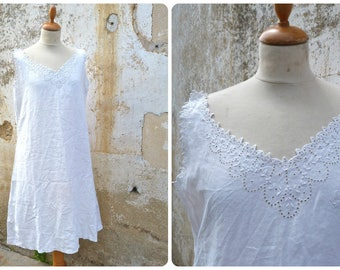 Vintage Antique French Edwardian 1900 pure linen dress underdress handmade embroideries size M/L