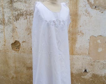 Antique  1900/1910 Edwardian French white cotton hand embroidered / underdress /dress/ size L/XL