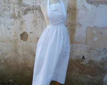 Vintage Antique French 1900 Edwardian French white 100 % cotton long apron