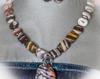 Zebra Jasper Necklace, Earrings, and Pendant Set