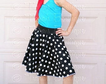 SUMMER SALE 20% OFF Retro 50's Sock Hop Black and White Polka Dot Circle Skirt for Girls and Babies