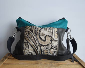 SLOUCHY bag // grey and turquoise leather