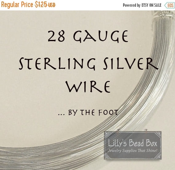 Memorial Day SALE - 28 Gauge Sterling Silver Wire , Thin Silver Wire, By The Foot, Round, Half Hard Wire for Wire Wrapping Jewelry and Gemst