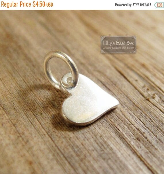 Summer SALEabration - Tiny Heart Charm, Silver Heart Dangle, Sterling Silver Little Charm, Charm for Making Jewelry, Charm Bracelet or Neckl