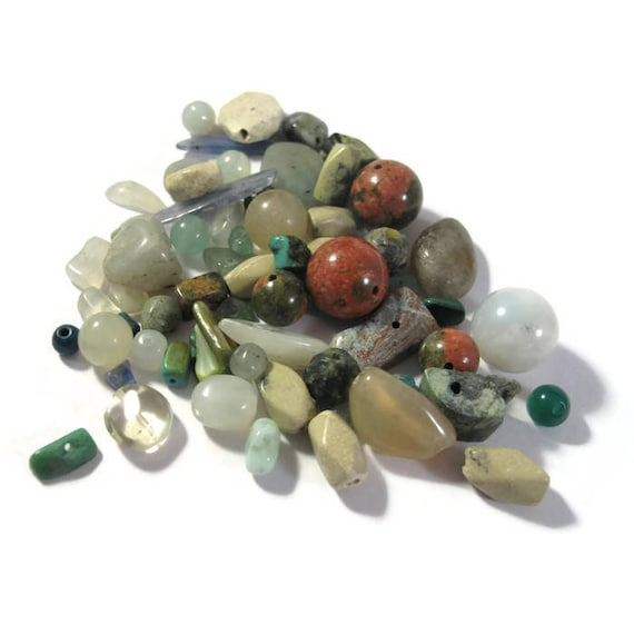 Turquoise Gemstone Bead Mix, Green / Brown Grab Bag, 55 Beads for Making Jewelry, Assorted Shapes and Sizes (L-Mix20b1)