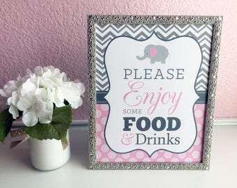 Please Enjoy Some Food and Drinks 8x10 Elephant Girl's Baby Shower Sign - Professionally Printed - Gray Chevron and Light Pink Polka Dots