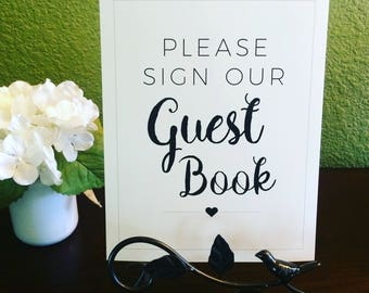 Please Sign Our Guest Book 8x10 Professionally Printed Black and White Wedding Ceremony Sign