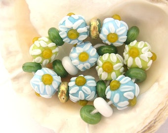 9 Chamomile Beads & 12 Spacers Handmade Lampwork