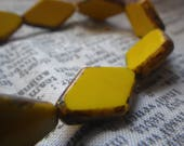 Opaque Yellow with Picasso Diamond New Czech Pressed Glass Beads 20x12mm 25 Pcs