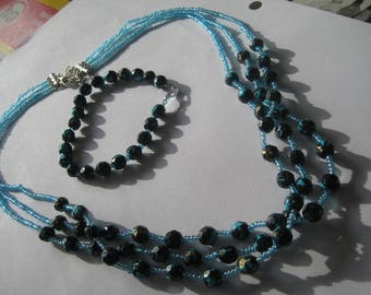 Necklace and bracelet set in blues, work jewelry