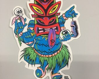 Car Decal - Tripping Tiki by Alan Forbes